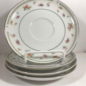 Set-of-4-ABINGDON-Fine-Porcelain-China-Rose-Saucers-Plates