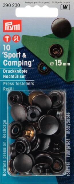 Prym 10 Druckknöpfe Camping 15mm schwarz Nachfüllpack 390230