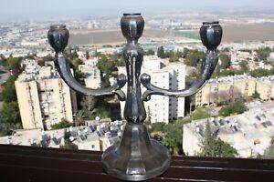 Old-Antique-Hazorfim-Solid-Silver-Israel-11-034-Candlestick-Candleholder-330Gr