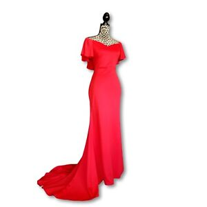 Off-Shoulder-Flutter-Ruffle-Sleeve-Mermaid-Maxi-Dress-Gown-Bright-Red