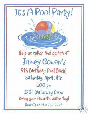 20 Custom Party Invitations Pool Beach Ball Swim