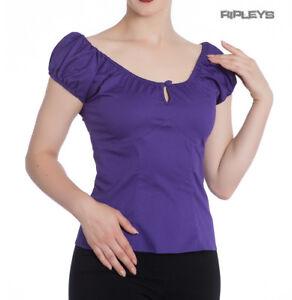 Hell-Bunny-Shirt-Gypsy-Top-MELISSA-50s-Plain-Purple-All-Sizes