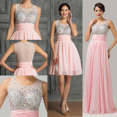 2016 Beaded Short LONG bridesmaids prom Formal Evening Cocktail Party Ball Gowns