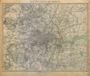 LONDON-amp-ENVIRONS-Middlesex-Kent-Essex-Surrey-Coloured-SDUK-c1844-old-map