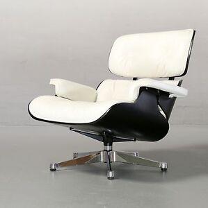ray charles eames lounge chair schwarz wei f r vitra leder original ebay. Black Bedroom Furniture Sets. Home Design Ideas