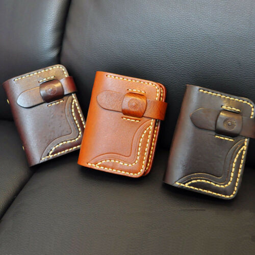 Vintage Leather Work Office Badge Credit ID Business Card Package Purse Wallet