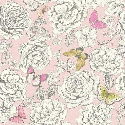 Elegant Floral Blooms & Butterflies Wallpaper - Bubblegum Pink - 10m Roll