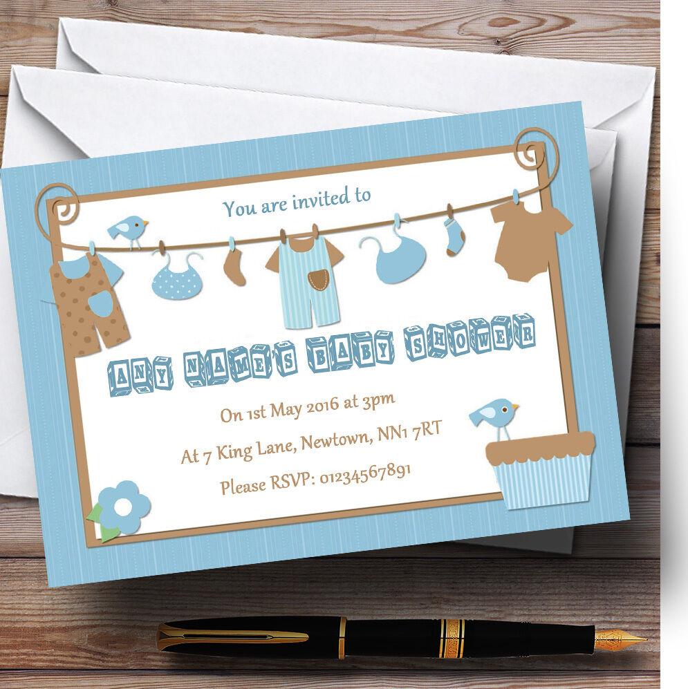 BLU BLU BLU RAGAZZI Abiti personalizzata Baby Shower inviti 902e1b