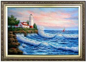 Framed-Quality-Hand-Painted-Oil-Painting-Seascape-with-Lighthouse-24x36in
