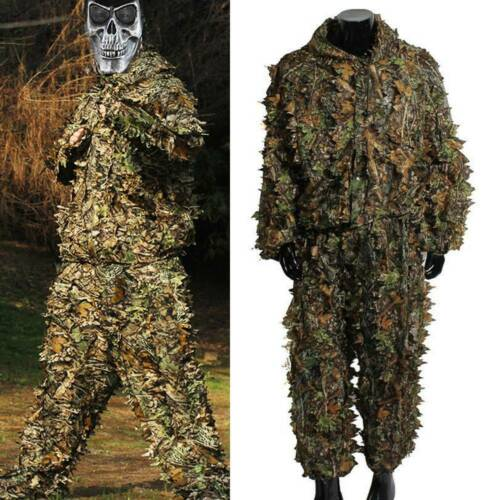 Hunting Ghillie Suit Leaf Jungle Forest Camo Jacket Pants for Men Women Tactical