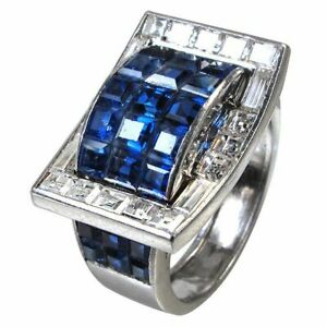 Art Deco invisibly set Sapphire and Baguette-cut Ring in 925 Sterling Silver New