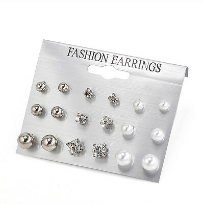 9 Pairs Women Fashion Rhinestone Crystal Pearl Earring Set Ear Stud Jewelry Gift
