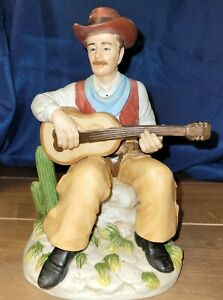 Homco-Seated-Cowboy-with-Guitar-Western-Scene-Cactus-Porcelain-Figurine-1472