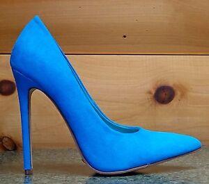 1a8ae5e447 Alba Ricky Blue Micro Suede Pointy Toe Pump Shoe 4.5