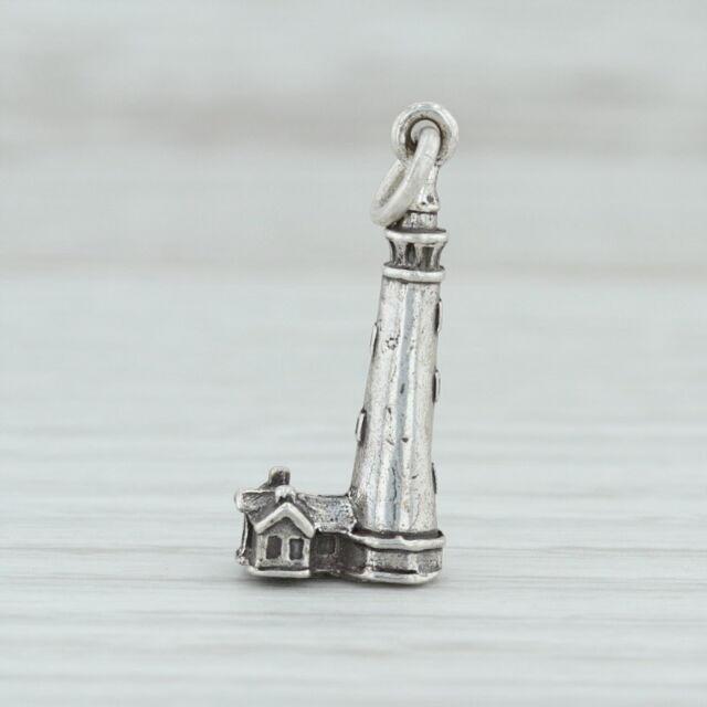 Currituck Beach Lighthouse Charm - Sterling Silver Nautical North Carolina Coast