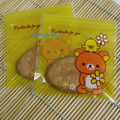 "bear ""handmade"" cellophane cello cookie candy treat bags peel N seal party"