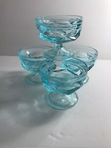 Vintage-Mid-Century-Blue-Footed-Desert-Dishes-Custard-Sundae-Thick-Heavy-Glass-B