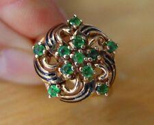 Fine Vintage 14K Enamel Emerald Ring Size 7