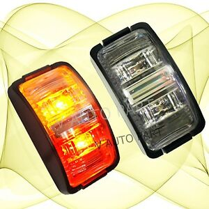 2X-12V-RED-Amber-two-colour-superflux-LED-Side-Light-Marker-Trucker-Trailer-Boat