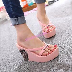 c8d8d2711 2017 Summer Womens Platform Beach Travel Wedge High Heel Flip Flops ...