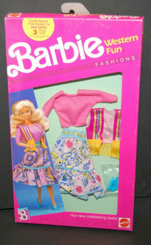 NRFB Mattel 1989 ~ Barbie Western Fun Fashions #9951 ~ Vest skirt Outfit