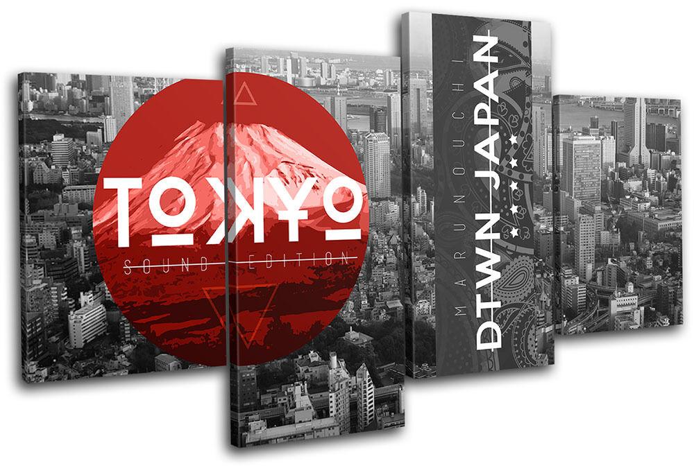 Tokyo Japan Typography City MULTI Leinwand Wand Kunst Bild drucken