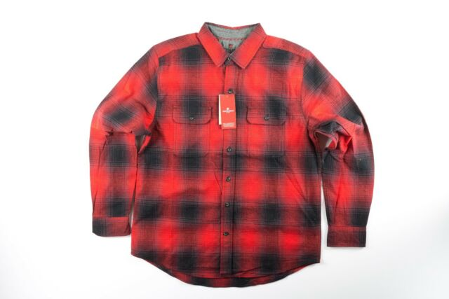 NWT Woolrich Red Black Flannel Button Up Light Picnic blanket Classic Fit Shirt