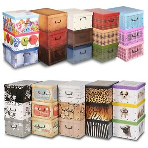3 Underbed Collapsible Storage Boxes Cardboard With Lids Handles Lightweight Ebay