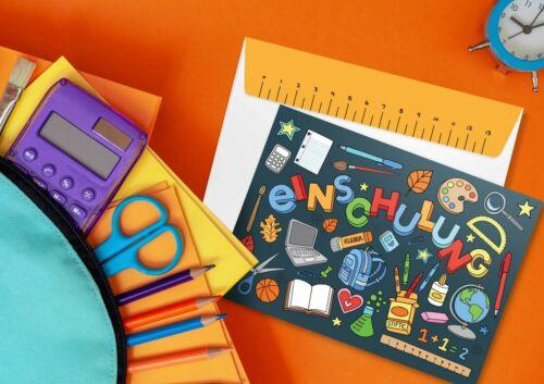 12 Einladungskarten Schulanfang inkl Umschlag Schulkind Einladung Einschulung