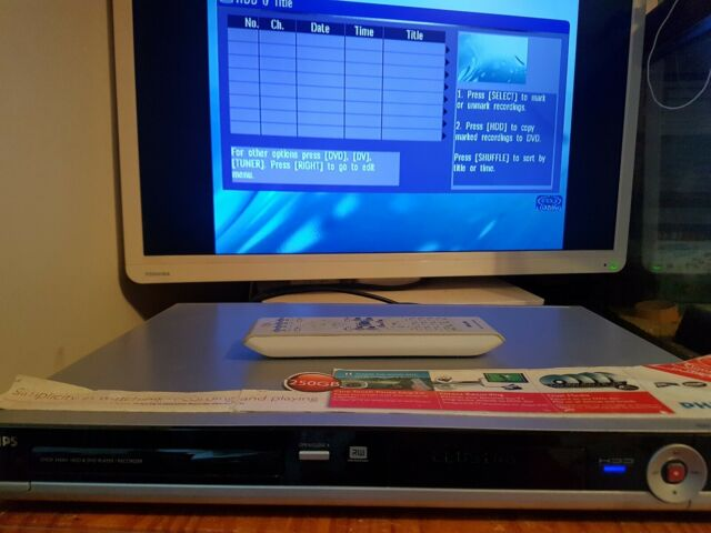 Philips DVDR 3460H  250G HDD & DVD Player / Recorder HDD works DVD doesn't Open