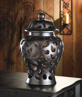 Large Black Punched Ceramic Hurricane Urn Outdoor Candle Holder Lantern Luminary