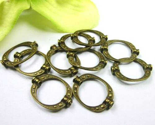 10 marco oval metal perlas spacer color bronce #s474