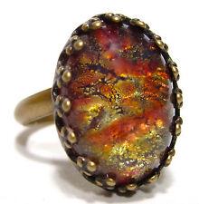 SoHo® Ring oval vintage altgold bronze red fireopal böhmischer Glasstein 1960´s