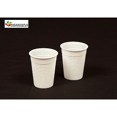 3000 x White Disposable 7oz PLASTIC CUPS GLASSES