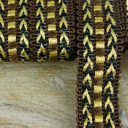 COFFEE BROWN GIMP GOLD BRAID TRIM UPHOLSTERY 20MM WIDE SOLD BY THE METRE G9