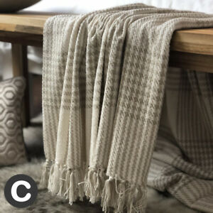 Luxury-100-Cotton-Checked-Natural-Ivory-Beige-Throw-Blanket-Bed-Sofa-Fringed