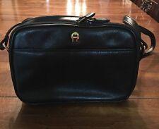 Etienne Aigner Quality Black Leather Purse Crossbody Shoulder Goldtone Hardware