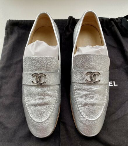 Chanel! Silver Matalic Loafers. Size 38.5