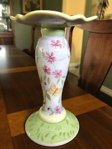 Capriware 9 1 2 Pillar Candle Holder Hand Painted Floral Butterfly Ceramic Ebay