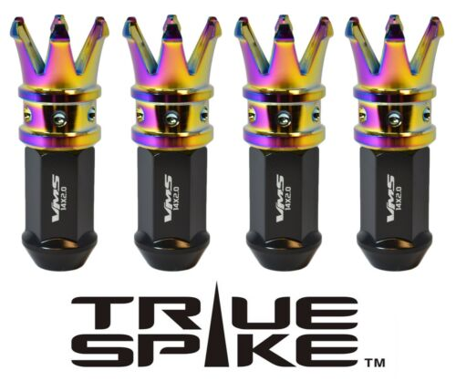 20 TRUESPIKE 89MM 12X1.25 FORGED STEEL EXTENDED CROWN SPIKE LUG NUTS NEO CHROME