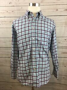Lacoste-Purple-Blue-Check-Plaid-Button-Up-Long-Sleeve-Men-039-s-Shirt-Size-44-US-L