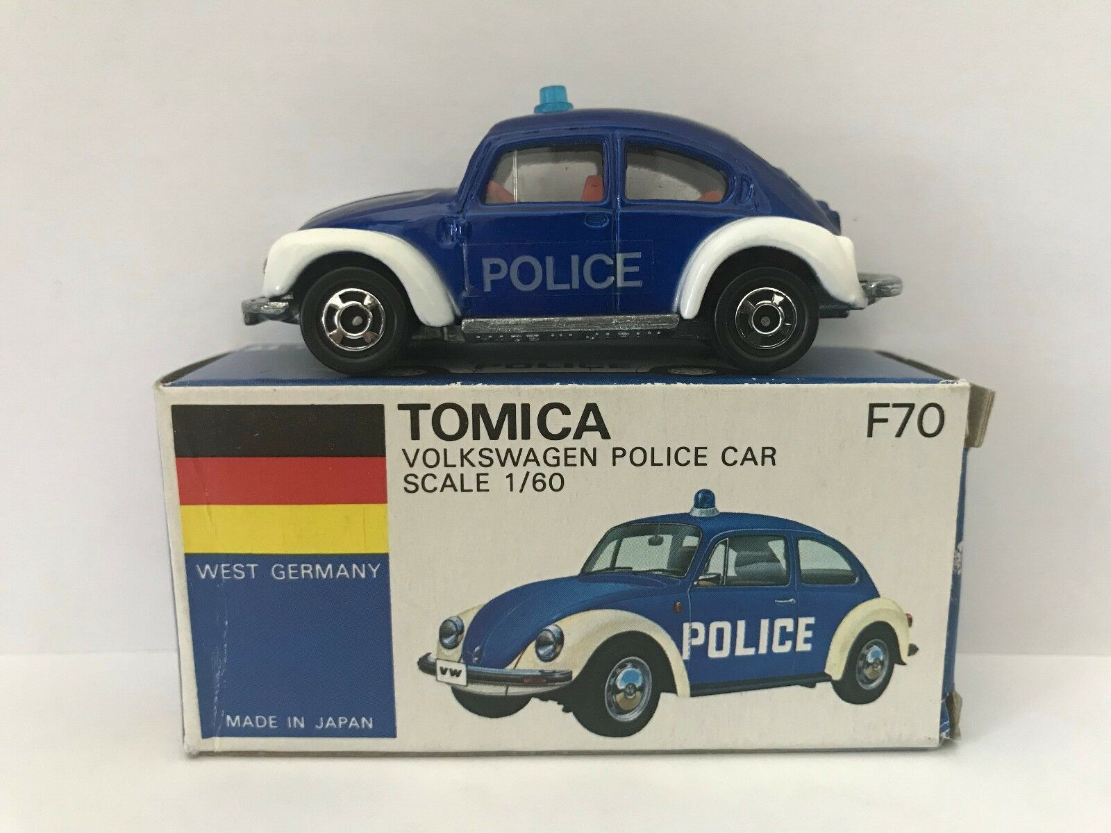 Tomica F70 Volkswagen Bug Police Car Made in Japan (bluee)