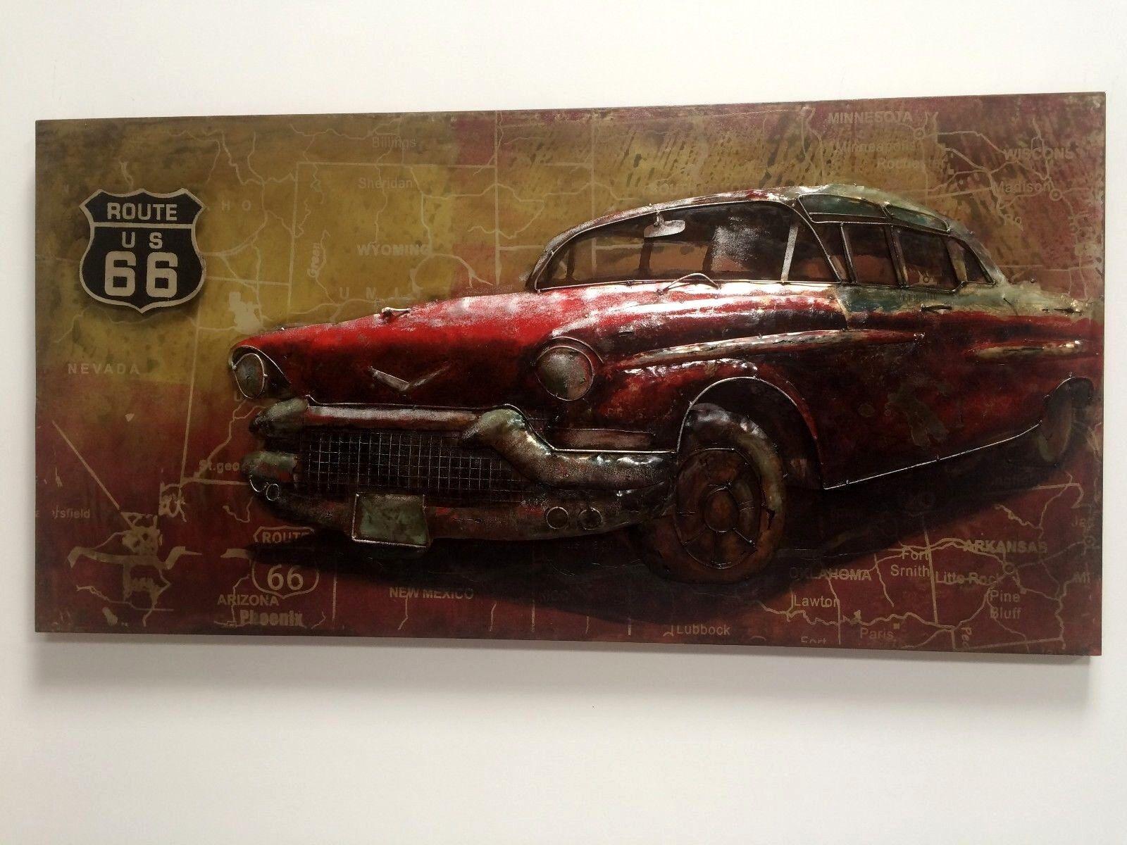 Metallbild Oldtimer Freiheit Kult vintage 3D Loft Art Deko Wandbild Einzug Loft