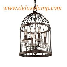 "14"" Rustic Iron Steel Frame Bird Cage Lustre Crystal Pendant Chandelier Burbank"