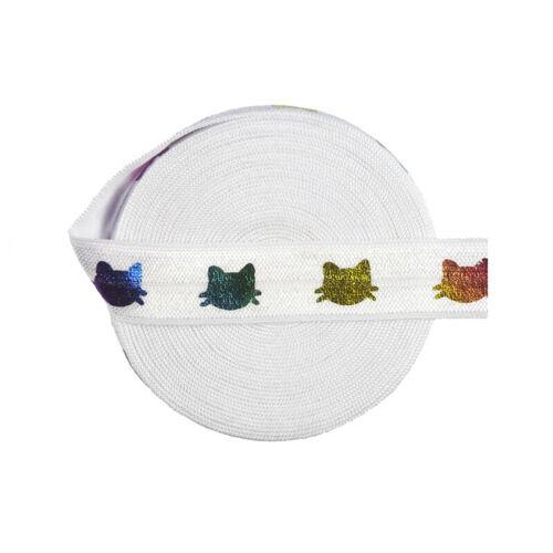 "5 Yard 5//8/"" Rainbow Gold Cat Foil Print Fold Over Elastics FOE Spandex Band Trim"