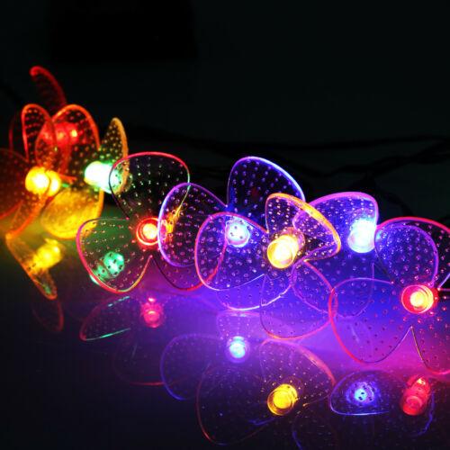 Solar Garden 20LED Orchid String Fairy Lights Wedding Party Festoon  Lamp UK