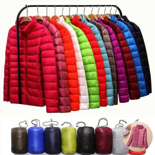 Women/'s Packable Down Coat Winter Jacket Collar Ultralight  Hoodie Puffer Stand