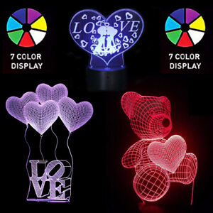 Image Is Loading Birthday Valentine 039 S Day 3D LED Heart