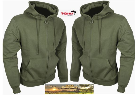 Men's Viper Tactical Zipped Hoodie in Khaki Green. Hunting, Shooting, Fishing