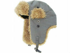 Unisex Dark Gray Canvas Trapper Hat Faux Fur Warm Winter Aviator Bomber Hunting